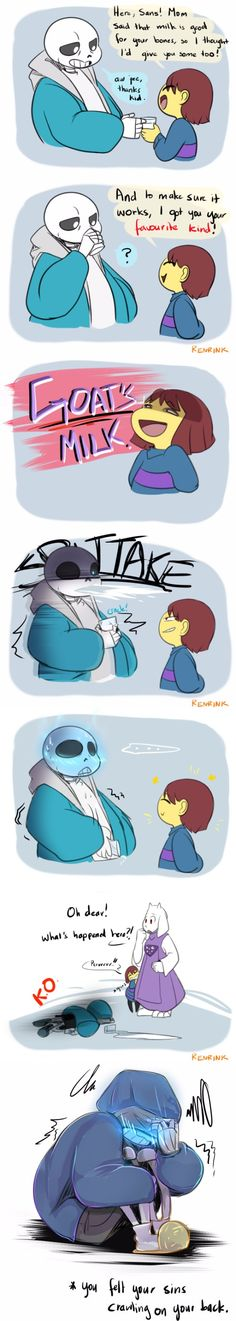 Sans, Frisk, and Toriel - comic - LOL