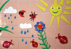 """bath """"murals"""" using craft foam!"""