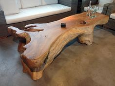 You will easily fall for this teak wood coffee table, both aesthetic and practical. Its wood coffee table with drawers offer you . Natural Wood Furniture, Live Edge Furniture, Log Furniture, Handmade Furniture, Unique Furniture, Furniture Stores, Luxury Furniture, Root Table, Coffee Table To Dining Table