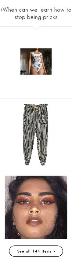 """/When can we learn how to stop being pricks\"" by feyrra-the-inspirational ❤ liked on Polyvore featuring pants, bottoms, trousers, black, vintage trousers, stripe pants, striped harem pants, striped pants, draw string pants and shoes"