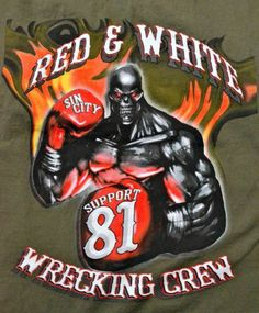 RARE Hells Angels Sin City Vegas XL Support Shirt 81 Red White Chopper Harley   eBay