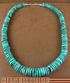 Native American Jewelry Turquoise Sterling Silver Bead Necklace AS26973 From SilverTribe.com