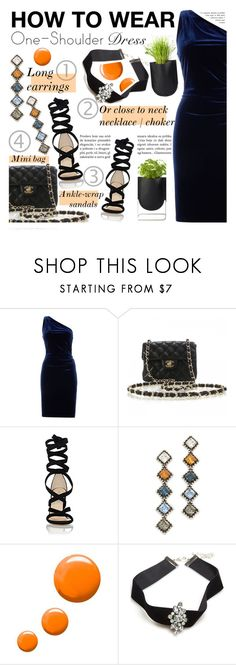 """How to Wear: One-Shoulder Dress"" by asya-1 ❤ liked on Polyvore featuring Lauren Ralph Lauren, Chanel, Barneys New York, DANNIJO, Topshop, Wet Seal and Authentics"