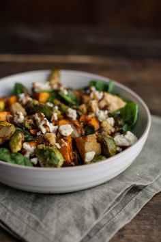 Fall Cornbread Panzanella Salad with Blue Cheese, Brussels Sprouts, Sweet Potatoes & Maple Mustard Vinaigrette / naturally ella