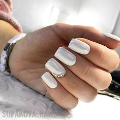 Glossy White Nails with Crystal Shine