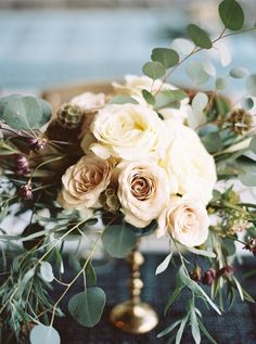 Elegant Neutral Compote Centerpiece | Julie Paisley Photography | The Gilded Age - A Dark Romance Wedding - http://heyweddinglady.com/gilded-age-dark-romance-wedding/