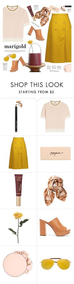 """""""stay golden: dressing in marigold"""" by jesuisunlapin ❤ liked on Polyvore featuring Bobbi Brown Cosmetics, Miu Miu, Rochas, Too Faced Cosmetics, CÉLINE, Carolina Santo Domingo, Mansur Gavriel, Anastasia Beverly Hills, Tom Ford and BOBBY"""