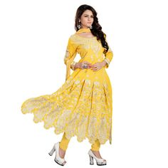 Shop Smile Women\'s Georgette Embroidered Semi-stitched Anarkali Dress Material Free Size Yellow by Ustaad Sales online. Largest collection of Latest Salwar Suits online. ✻ 100% Genuine Products ✻ Easy Returns ✻ Timely Delivery