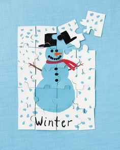 make your own snowman puzzel - fun winter craft ideas
