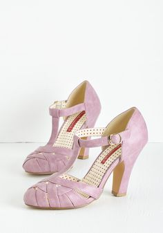 Spring 'Em Out Heel in Orchid by Bait Footwear - Purple, Solid, Braided, Special Occasion, Prom, Wedding, Party, Daytime Party, Vintage Inspired, 20s, Darling, Better, T-Strap, Variation, Pastel, Mid, Faux Leather