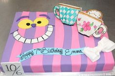 For an Alice's tea themed party. The cups and watch are sugar cookies Cheshire Cat Cake Birthday Cake For Cat, Birthday Sheet Cakes, Happy 7th Birthday, Special Birthday, Birthday Ideas, Birthday Parties, Cheshire Cat Cake, Big House Cats, Teen Cakes