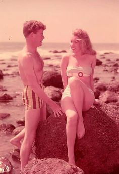 Lazlo Willinger (Hungary 1909) - Marilyn Monroe - 1947 - in white bathing suit with red clasp - with unknown guy @HinesASteph