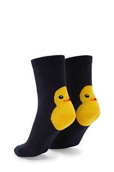 A pair of knit crew socks featuring a smiling chick graphic and ribbed trim.