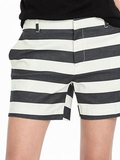 Our black and white cotton blend striped shorts are the chic go to piece that add a polished touch to your spring and summer look  | Banana Republic