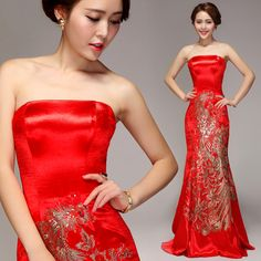 Shop elegant silk cheongsam, traditional Chinese red bridal dresses, sexy modernize Qipao from www.ModernQipao.com. Save 6% by share our products. Strapless red satin A-line evening gown gold phoenix embroidered long Chinese wedding dress