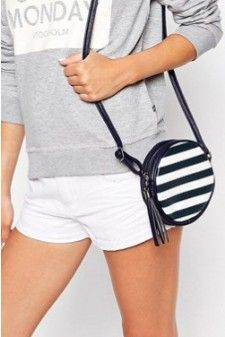 Navy Blue and White Striped Cross Body Bag 01509