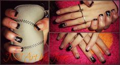 Nails with gel..black fashion!