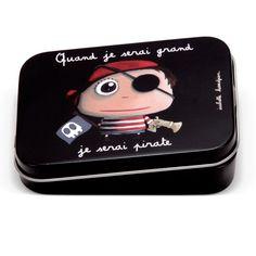 """Boîte à bons points """"Quand je serai grand, je serai Pirate"""" - Le Coin des Créateurs #isabellekessedjian #boiteabonspoints #boitemetal #pirate"""