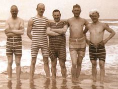 How about these stripes!  A group of men wearing a range of beachwear, photographed around the year 1900 at Skagen in northern Denmark.