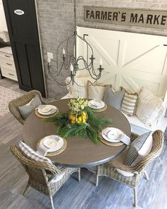 Get the modern farmhouse dining room decor ideas from the table, lighting, chairs, and more. Farmhouse Dining Room Table, Dining Room Table Decor, Dining Nook, Dining Room Design, Room Decor, Nook Table, Corner Dining Table, Farmhouse Chairs, Dining Bench