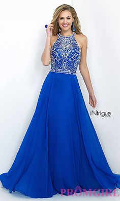 High Neck Floor Length Prom Dress with Beaded Top Intrigue by Blush at PromGirl.com