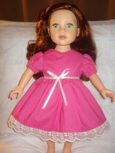 Valentine's Day dress in bright pink with lace trim for American Girl Dolls - ag148. $22.95, via Etsy.