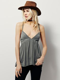 Clara Tank | In a flowy and swingy silhouette and super soft fabrication, this tank has crisscross straps in back. Triangular bust with a plunging neckline.