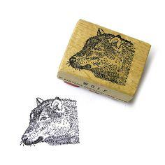 Vintage 1978 Wood Handle Rubber Stamp Wolf by by 42ndAvenueVintage