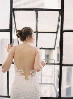The gorgeous details on the transparent back of this bridal gown add a feminine touch. Designed by bridal designer Hannah Kong. Bridal Gowns, Wedding Gowns, Whimsical Fashion, French Lace, Bridal Collection, Wedding Styles, One Shoulder Wedding Dress, Feminine, Touch