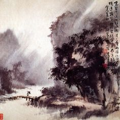 The Art of Au Ho-Nien, 歐豪年的繪畫藝術 Asian Landscape, Chinese Landscape Painting, Korean Painting, Winter Landscape, Landscape Paintings, Japan Painting, China Painting, Chinese Plants, Art Chinois