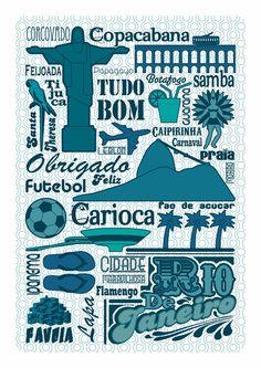Objets symboles du Brésil et typo - Rio Poster by GERALDESIGN , via Behance http://www.behance.net/gallery/Graphismes/3167916 Buy on Etsy : https://www.etsy.com/listing/99960847/rio-poster