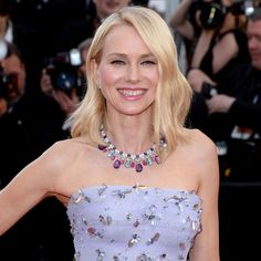 Naomi Watts wore a Bulgari high jewellery necklace with amethyst, rubellite and aquamarine cabochons at the 2016 Cannes Film Festival. Discover the history of the famous vintage, antique and modern jewellery of Bvlgari: http://www.thejewelleryeditor.com/jewellery/bulgari-history-of-style-celebrities-iconic-design/ #jewelry