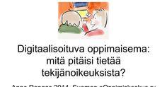 Digitaalisoituva oppimaisema: mitä pitäisi tietää tekijänoikeuksista? Anne Rongas 2014, Suomen eOppimiskeskus ry Aineisto Anne Rongas 2014, Creative Commons Nimeä- JaaSamoin 4. 0 Miksi tekijänoikeuksista pitäisi tietää?? Digitalisoituminen... Informaation välittäminen ja varastointi muuttuu Ihmisten Winnie The Pooh, Disney Characters, Fictional Characters, Presentation, Winnie The Pooh Ears, Fantasy Characters, Pooh Bear