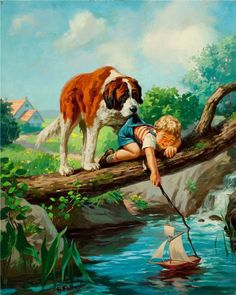 Illustrations -by Henry Hintermeister Vintage Pictures, Art Pictures, Norman Rockwell, Beautiful Paintings, Beautiful Gif, Dog Art, Belle Photo, Cute Art, Vintage Art