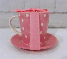 New STARBUCKS Pink Ivory Polka Dot Easter Spring 13 oz Coffee Mug Saucer w/Bow  #Starbucks