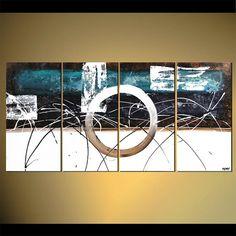 Pintura abstracta contemporánea Teal blanco por OsnatFineArt