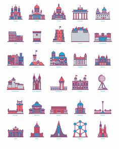 30 Landmark Icons on Behance