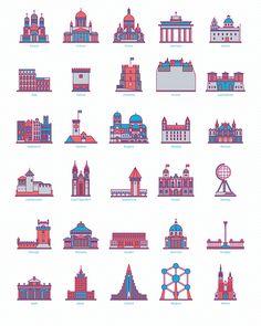30 Landmark Icons on Behance
