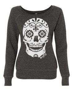 Sugar Skull Sweatshirt- Wide Neck Sweatshirts for Women – Moxie Fitness Apparel