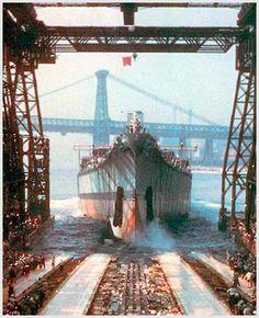 USS Iowa Launch at New York Naval Yard