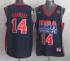 Nike USA 1992 Olympic Dream Team One 14 Charles Barkley Retro Basketball Jersey