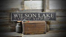 Custom Lake Latitude & Longitude Sign Rustic by TheLiztonSignShop