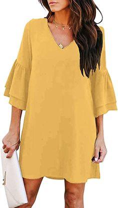 Shenbolen Women Casual V-Neck Dress Short Sleeve Loose Dress Mini Dress at Amazon Women's Clothing store