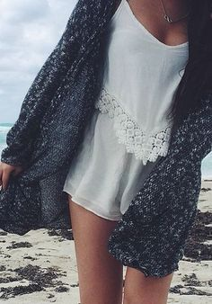 #summer #fashion / crochet top + white romper