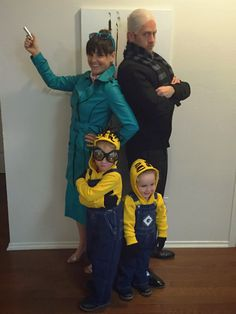 DIY Despicable Me 2 Halloween Family Costumes - Lucy Wilde, Gru, and minions. For costume components, product links, and instructions, visit fabeveryday.com.