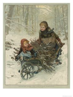 Two Children Bring Home a Barrow-Load of Firewood for the Christmas Fire