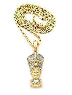 """Sparkle Nefertiti Queen Pendant 2mm 24"""" Box Chain Necklace in Silver/Gold-Tone. Sparkle Nefertiti Queen Pendant Box Chain Necklace. 2mm Thick 24"""" Long Box Chain Necklace. Pendant Dimensions - 0.65"""" x 1.75"""". Silver-Tone."""