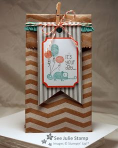 Stamp Sets:Tag It (Ronald McDonald Stamp Set) Pretty Packages: Tag a Bag Accessory Kit, Tag a Bag Gift Bags Colors:Cosstal Cabana, Tangerine Tango, Smoky Slate Embellishments:Tangerine Tango Baker's Twine (comes in kit), Cosstal Cabana Stretch Ruffle Trim, Mini Clothespin (comes in kit) Posted by SeeJulieStamp at 8:00 PM