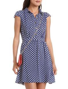 Cap Sleeve Challis Shirt Dress: Charlotte Russe