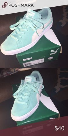 low priced 11749 bda53 Mint green classic puma Mint green and ivory white classic style suede puma  worn once 9 10 condition Puma Shoes Sneakers